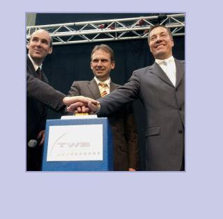Ministerpräsident aD Dieter Althaus bei der Einweihung mit den TWB-Geschäftsführern